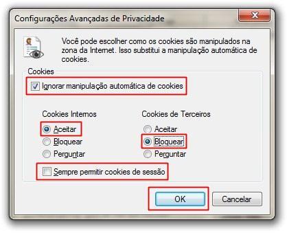 Configurações de cookies