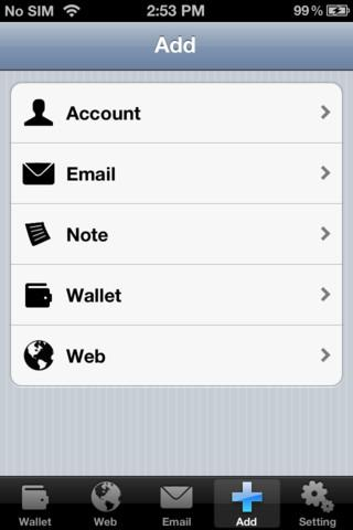 Password Keeper free for iPhone - Imagem 1 do software