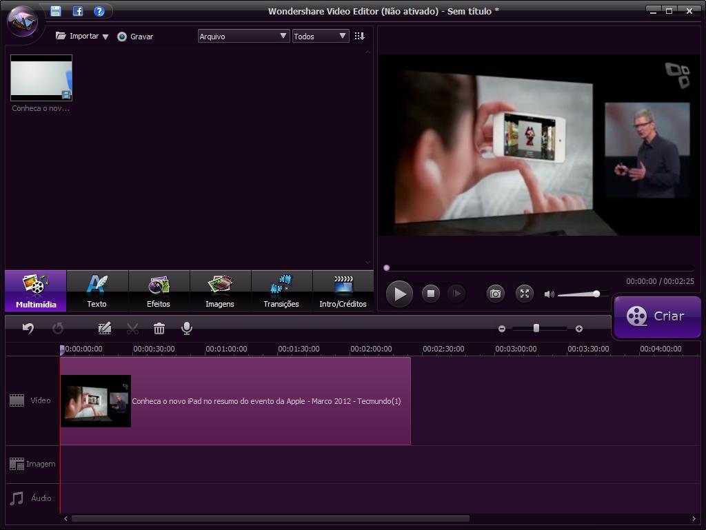 Wondershare Video Editor - Imagem 1 do software