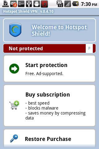 Hotspot Shield VPN - Imagem 1 do software