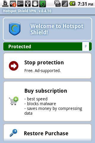 Hotspot Shield VPN - Imagem 2 do software