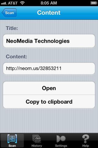 NeoReader ? QR reader, barcode scanner, & more - Imagem 2 do software