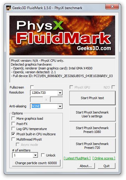 Geeks3D PhysX FluidMark Download para Windows Grátis