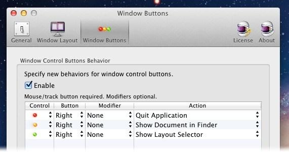 Mude a função dos botões da janela
