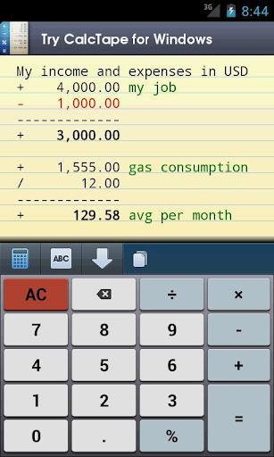 CalcTape calculadora - Imagem 1 do software