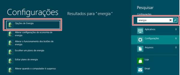 Abrindo as opções de energia