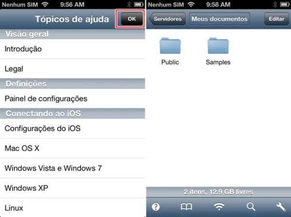 Página de ajuda e tela inicial do aplicativo