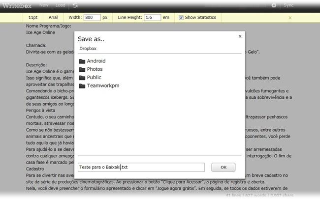 Writebox - Imagem 3 do software