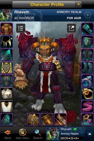 World of Warcraft Mobile Armory - Imagem 1 do software