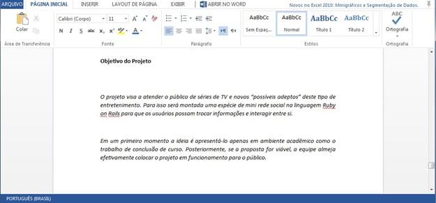 Editando documentos no Word