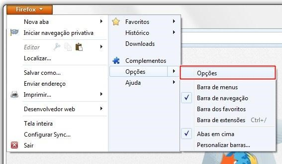 Acessando as opções do Firefox