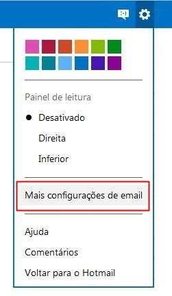 Abrindo as configurações do email