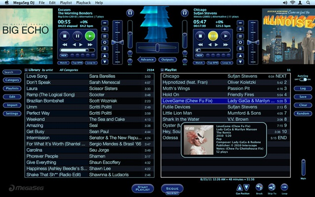 Janela do MegaSeg DJ, dividida em duas playlists