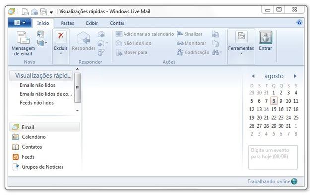 Interface do Windows Mail