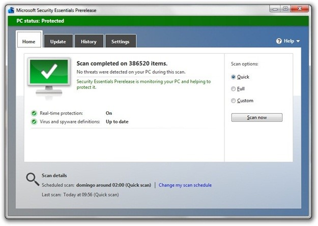 Microsoft Security Essentials Beta.