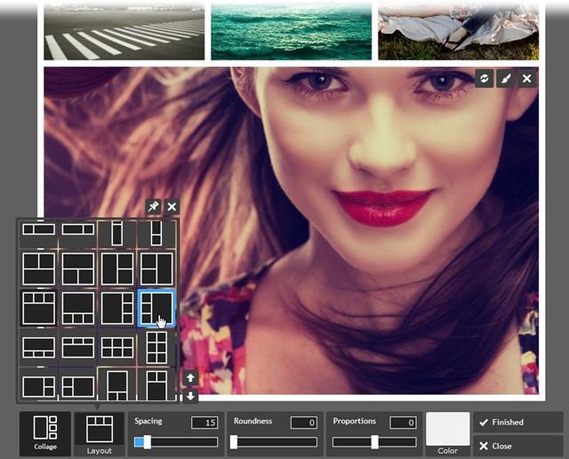Edição de colagens do Pixlr