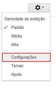 Abrindo as configurações do Gmail
