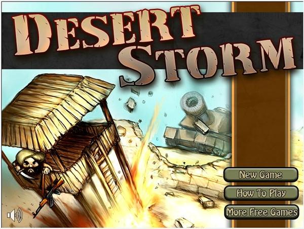Tela inicial de Desert Storm
