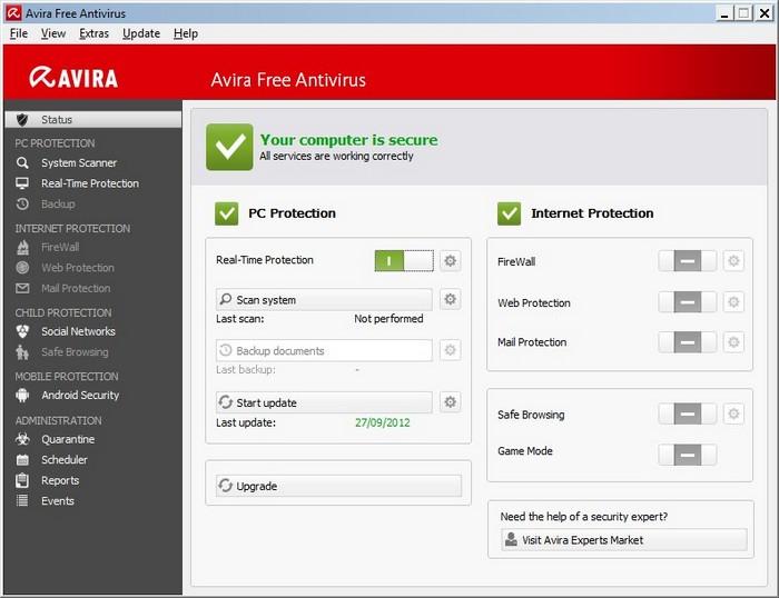 Avira Free Antivirus 2013.