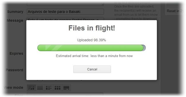 Os arquivos estão em voo!