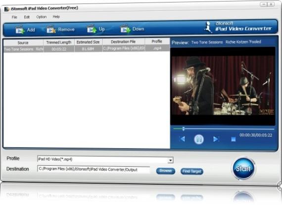 iStonsoft Free iPad Video Converter - Imagem 1 do software