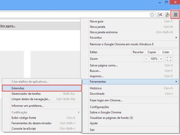 Abrindo as opções de extensão no Chrome