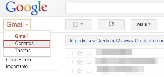 Abrindo os contatos do Gmail