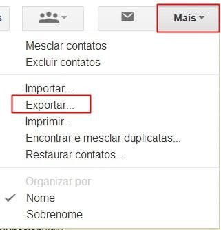Exportando os contatos