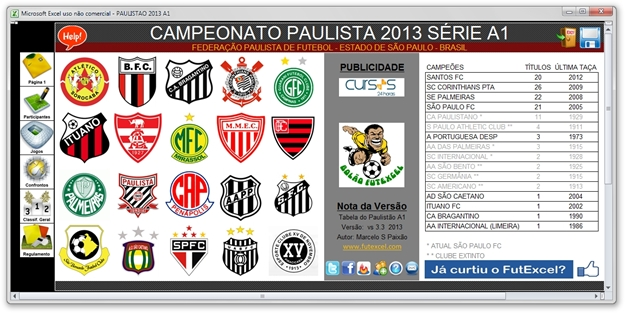 Tabela do Campeonato Paulista 2013