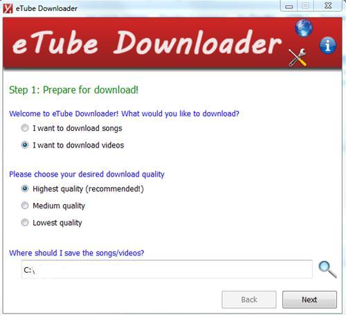 eTube Downloader - Imagem 2 do software