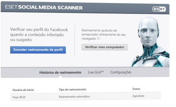 ESET Social Media Scanner interface