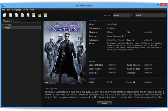jMovieManager - Imagem 1 do software