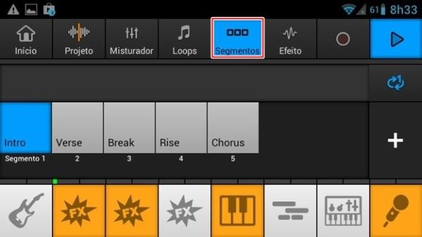 Escolhendo o trecho da música a ser alterado