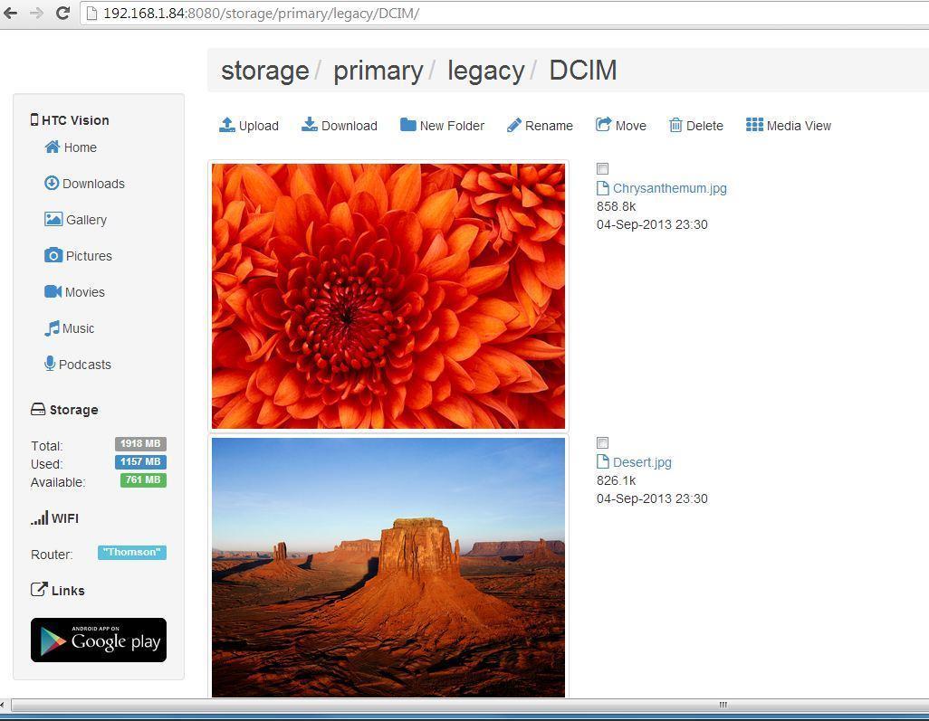 Droid Over Wifi - Imagem 1 do software