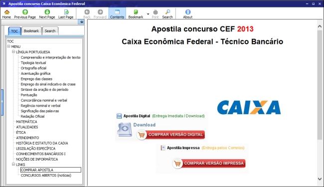 Apostila Caixa Econômica Federal 2014 - Imagem 1 do software