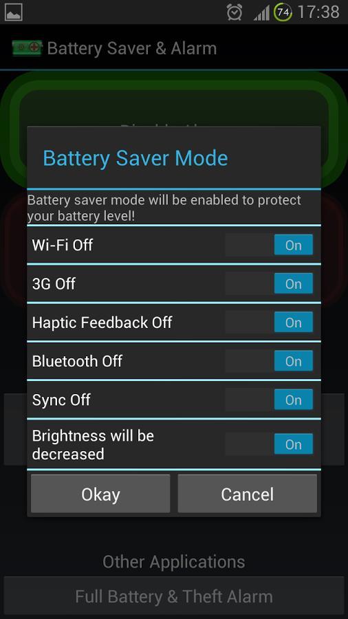 Battery Saver & Alarm - Imagem 1 do software