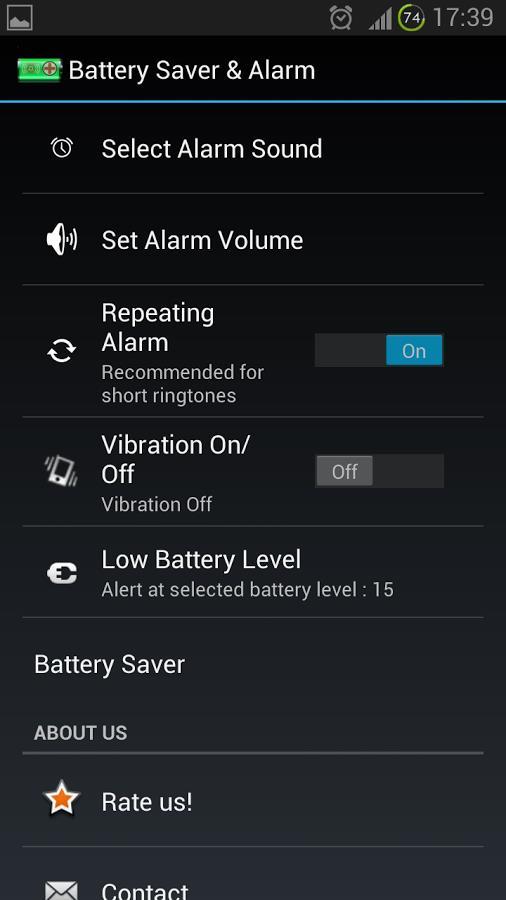 Battery Saver & Alarm - Imagem 2 do software