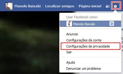 Abrindo as configurações de privacidade