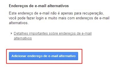 Adicionando email alternativo