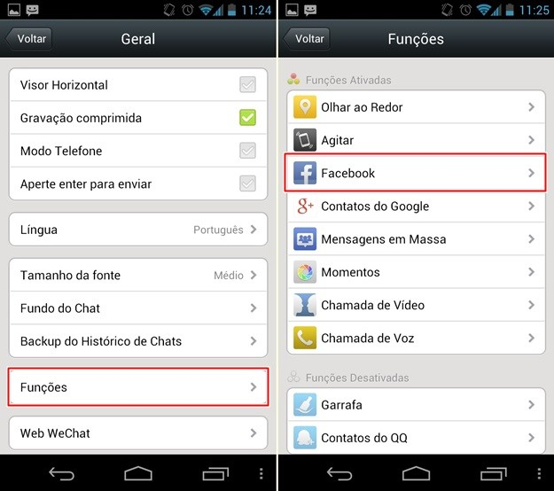Localizando as opções do Facebook