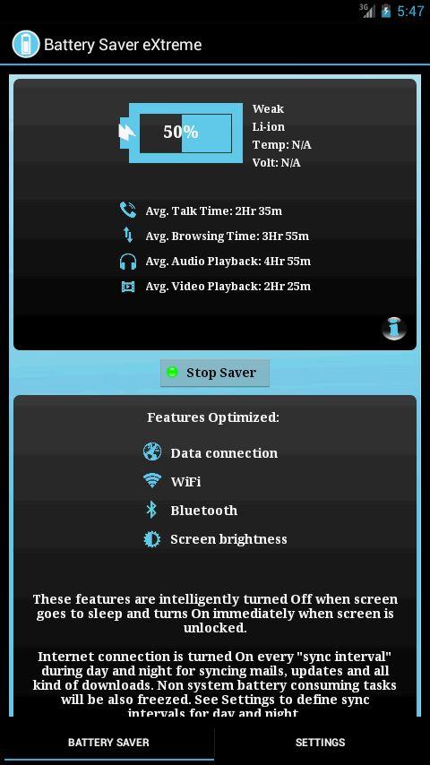 Battery Saver eXtreme - Imagem 2 do software