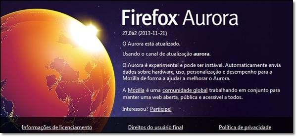 Aurora, o pré-Beta do Mozilla Firefox