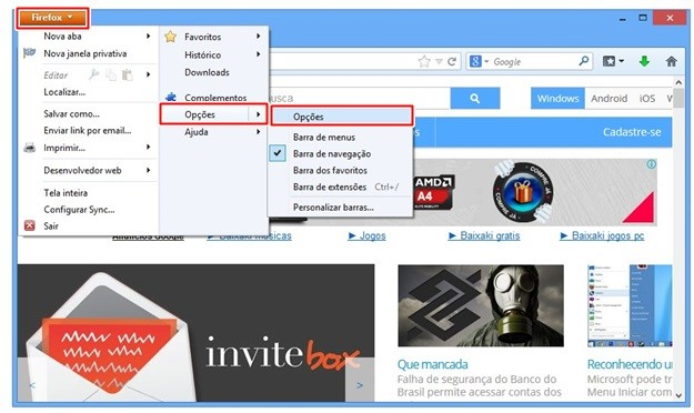Abrindo as configurações do browser