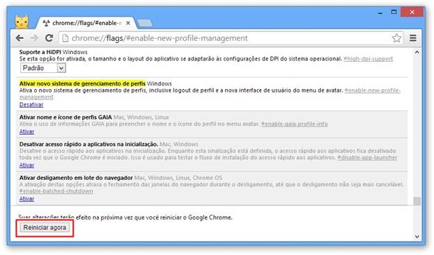 Reiniciando o navegador