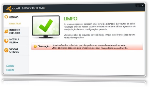 avast! Browser Cleanup interface