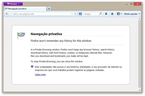 Janela de navegação privativa