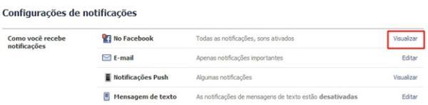 Abrindo as configurações de notificação