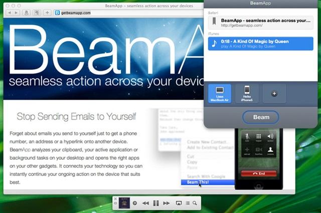 Utilize o botão Beam para enviar itens