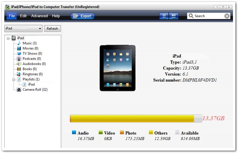 iPad/iPhone/iPod to Computer Transfer - Imagem 1 do software