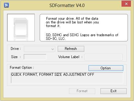 A única janela do programa de formatação.